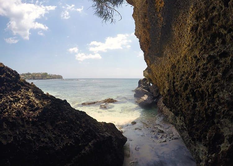 A rocky cove at Secret Mushroom Beach on Nusa Lembongan