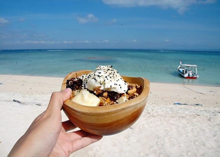 A yogurt and granola bowl at Blue Corner Restaurant in Nusa Lembongan Bali