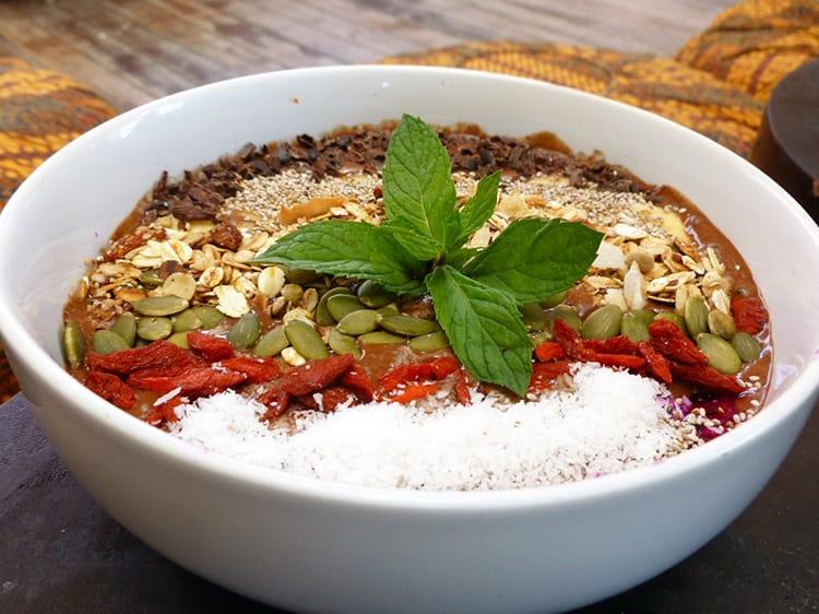 A smoothie bowl at Ginger and Jamu Restaurant in Nusa Lembongan Bali