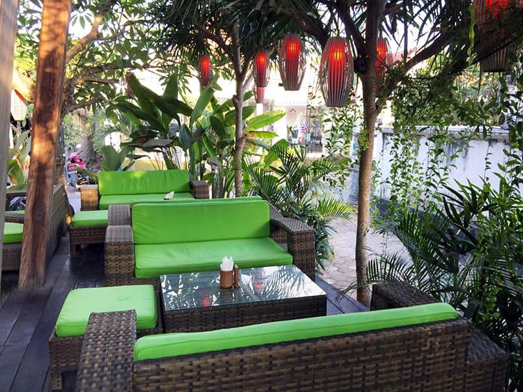 The outdoor seating area at  Lemongrass Restaurant in Nusa Lembongan Bali