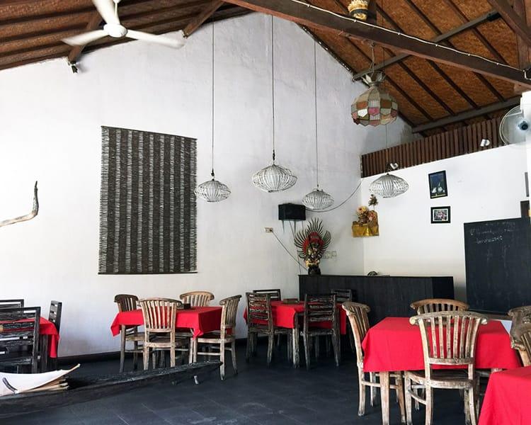 Inside Pondok Baruna Warung Restaurant in Nusa Lembongan Bali