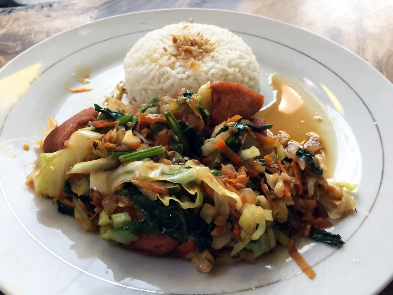 Traditional Balinese Food at Wahyu Warung Restaurant in Nusa Lembongan Bali