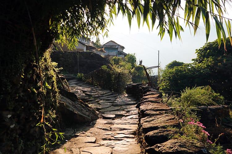 A beautiful stone pathway weaving through Tangting Village