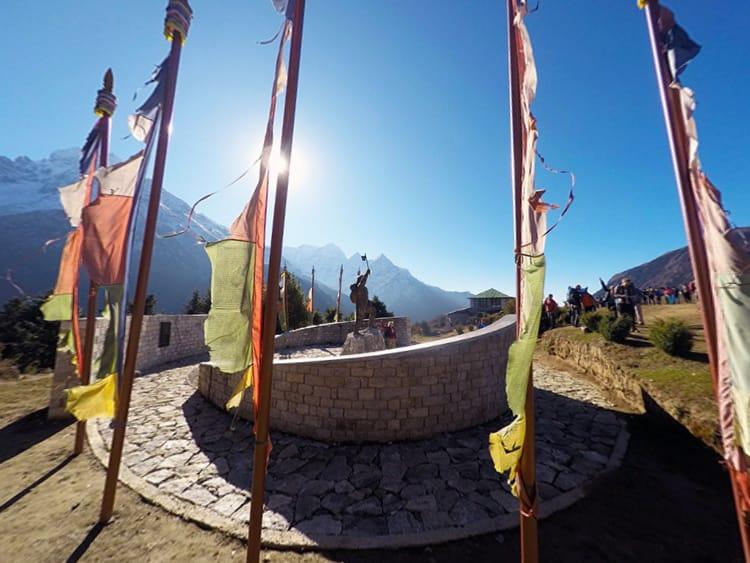 A statue of Tenzing Norgay Sherpa in Namche Bazaar