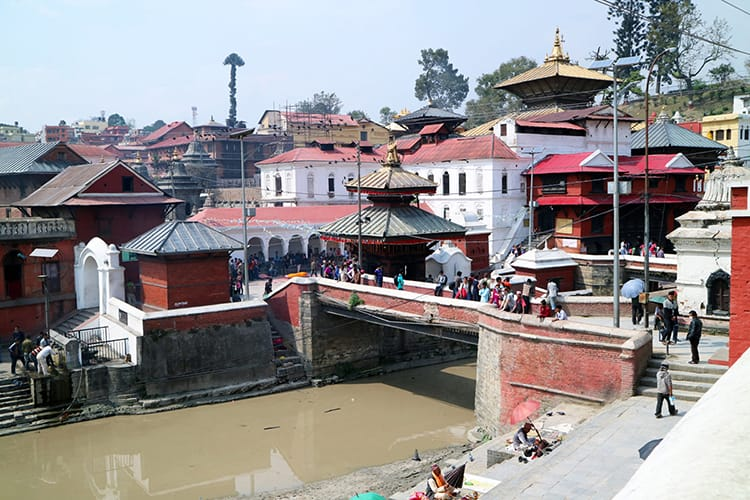 The temples at Pashupatinath in Nepal that surround the river