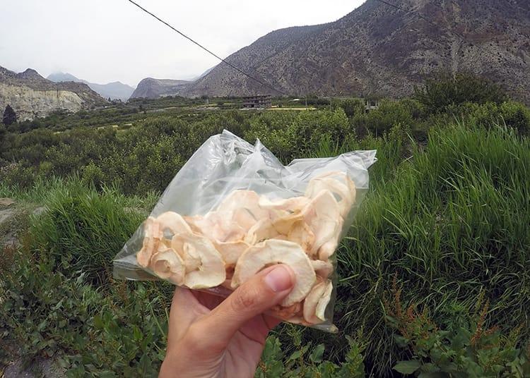 A bag of dried Apples in Marpha, Nepal