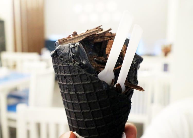 A charcoal ice cream from IceKraft in Kathmandu