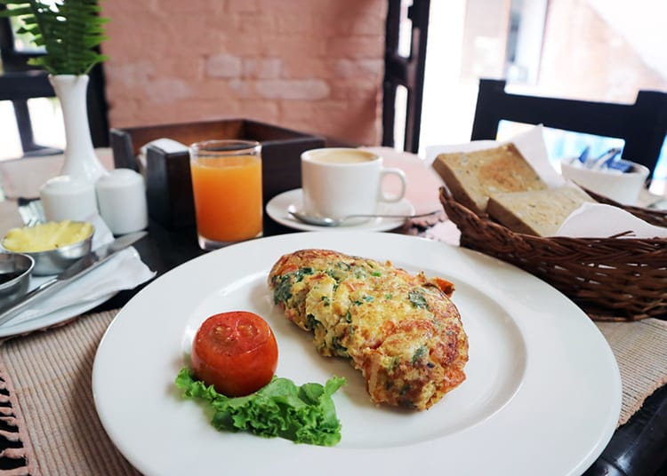 The garden omelet at Dhokaima Cafe in Patan