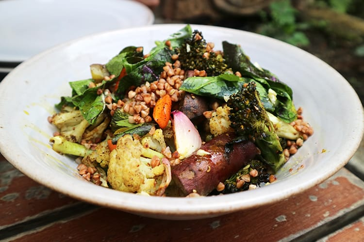 A salad made from fresh locally sourced vegetables and grains at Raithaane