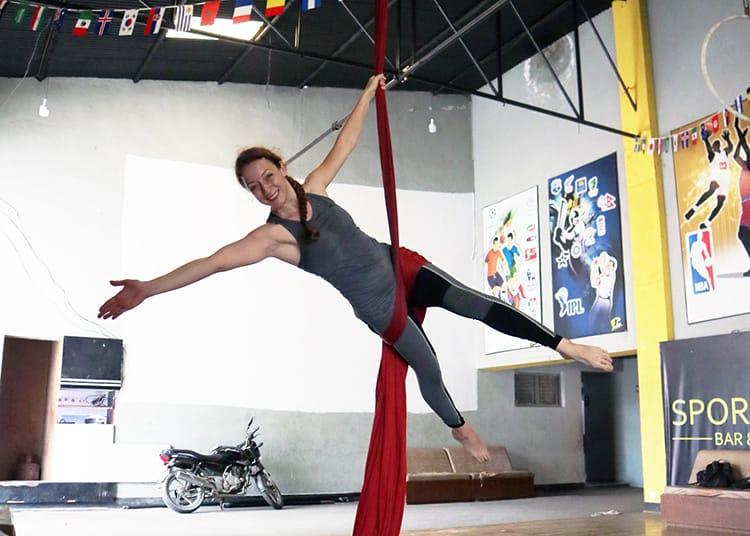 Michelle Della Giovanna from Full Time Explorer takes a silks circus class at Circus Kathmandu