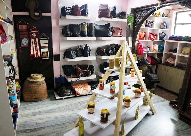 Purses and homemade jams and honey are featured in Sabah in Patan, Nepal