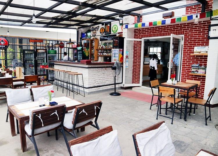 Inside Evoke Bistro in Patan, Nepal