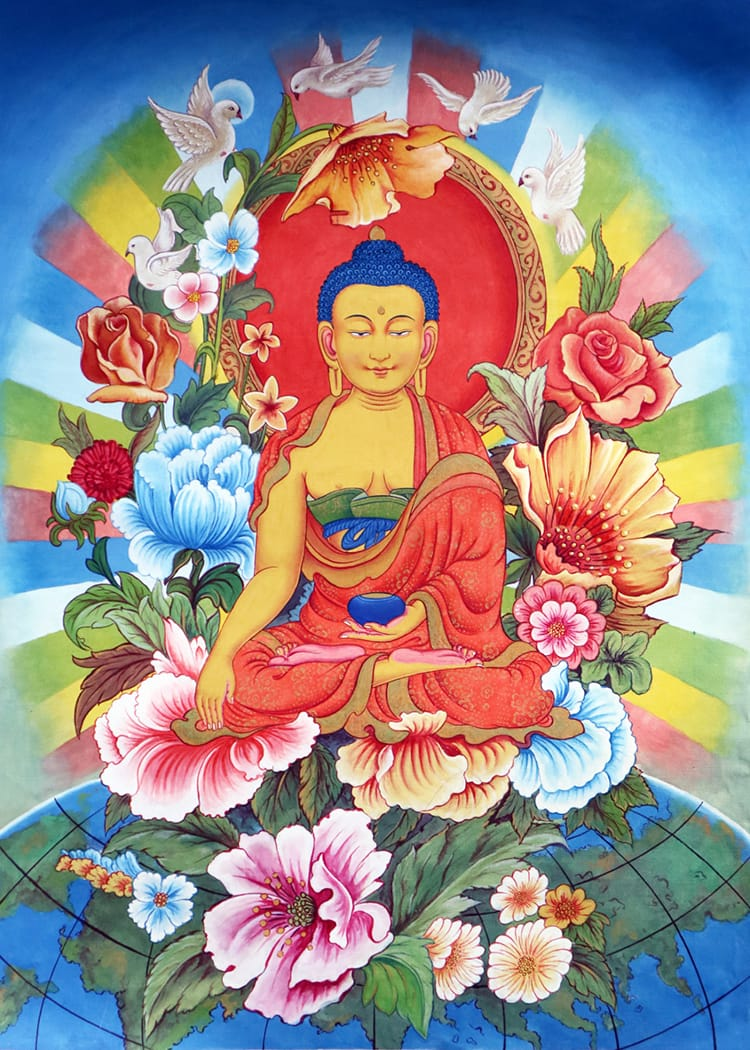 A detailed thangka painting of lord Buddha sitting on top of the world surrounded by flowers by Kichaa M Chitrakar