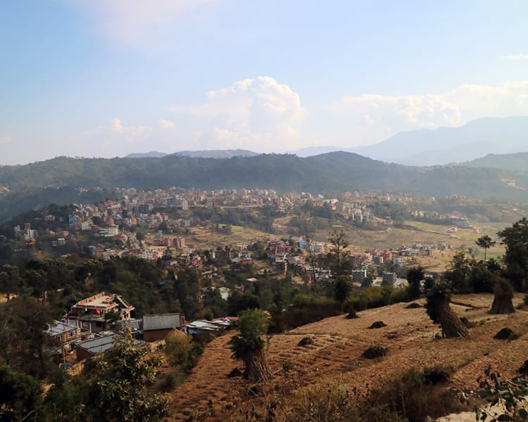 View of the city of Dhulikhel from the hills nearby