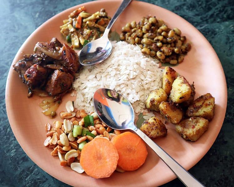 Samay baji served at a local Newari restaurant in Dhulikhel