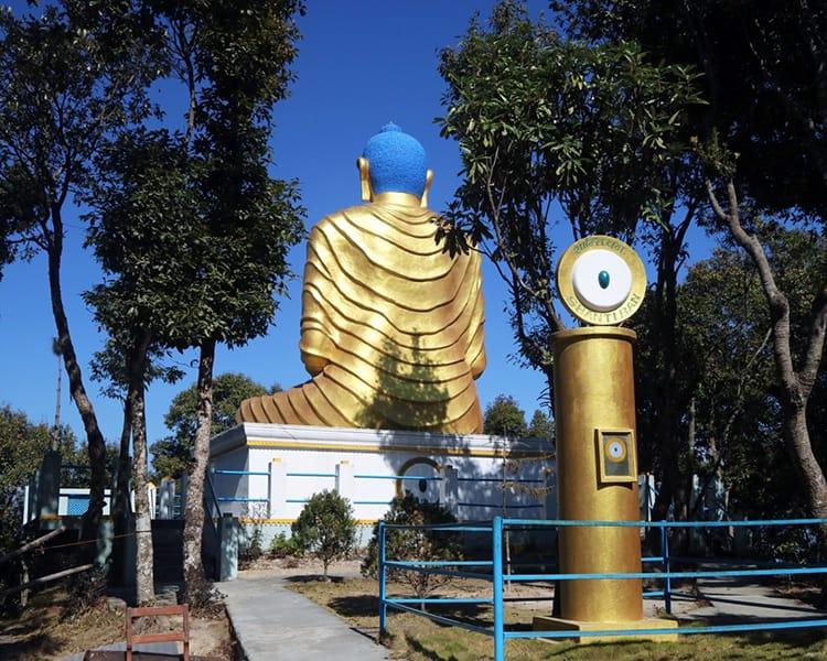 The shanti ban gold buddha on the way to Kali Temple in Dhulikhel