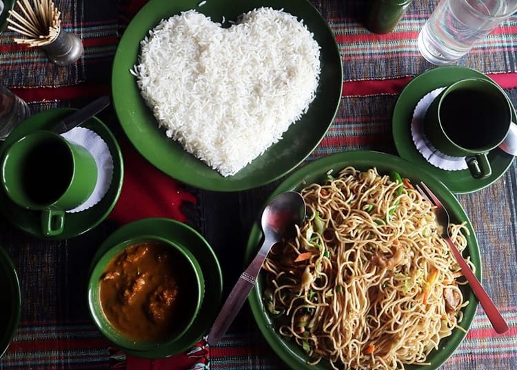 Chowmein and rice in the shape of a heart