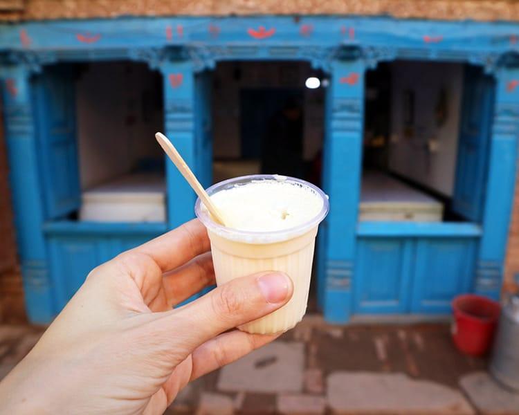 The famous king curd yogurt in Bhaktapur made from buffalo milk