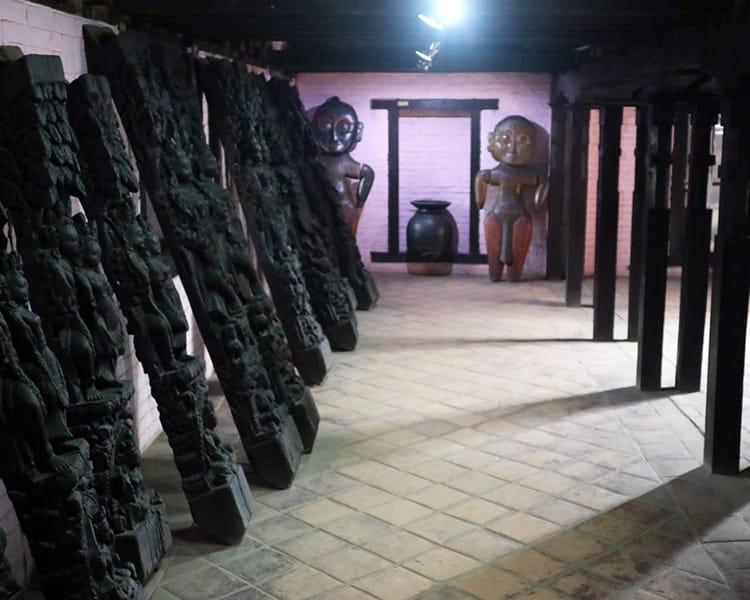 Wood Pillars on display inside the National Arts Museum in Bhaktapur