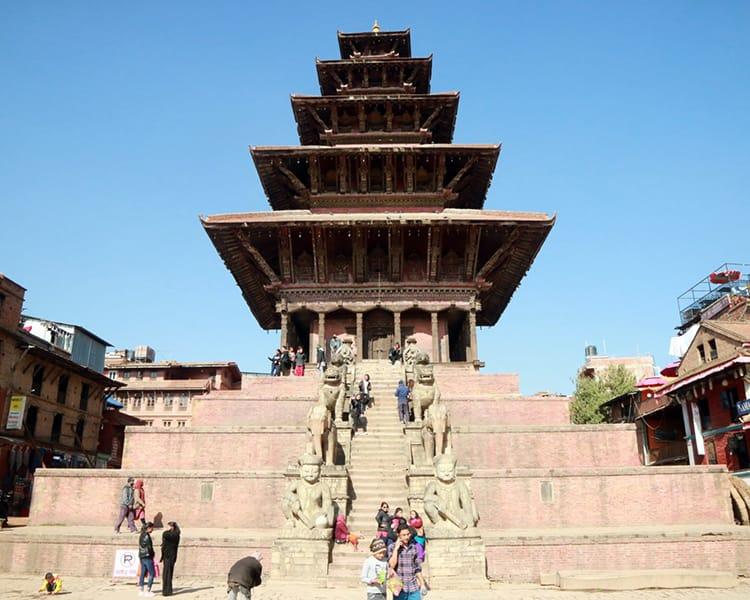 the Nyatapola Temple in Taumadhi Square in Bhaktapur