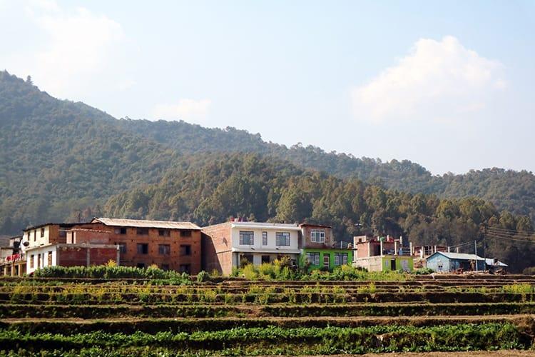 Farmhouses sit above terraced farms that grow potatoes