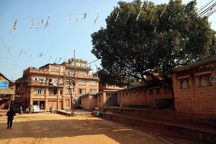The ancient brick city of Panauti has brick streets, brick buildings, and brick walls surrounding the old palace