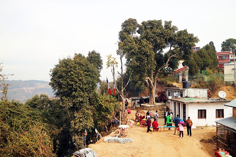 People celebrate under a Chautari tree near Namo Buddha Monastery