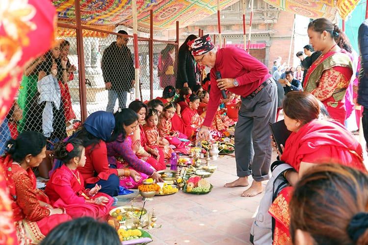 Newari girls perform puja during the Ihi ceremony