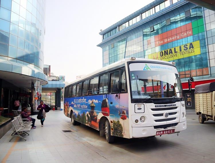 The Chandragiri Hills shuttle bus in front of Bhatbateni supermarket