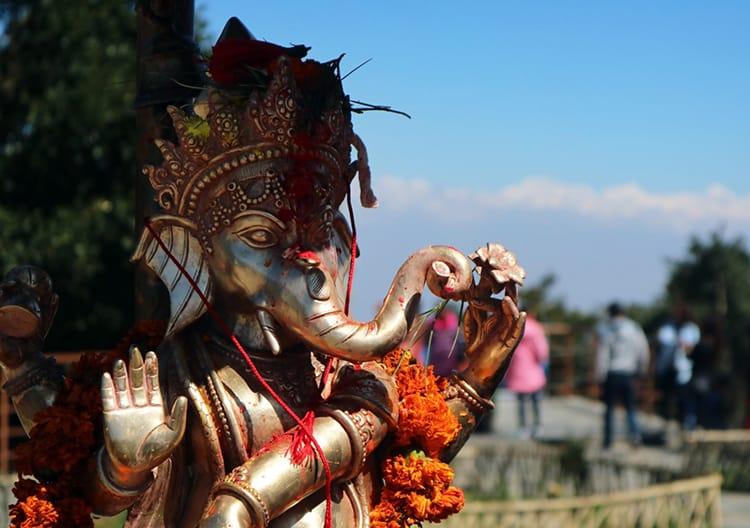 A bronze Ganesh statue at Bhaleshwor Mahadev Temple on Chandragiri Hills