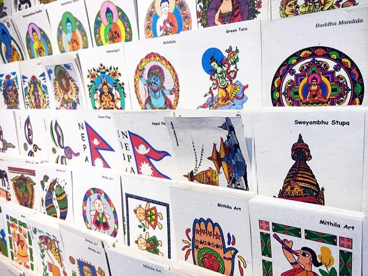 Lokta paper postcards displayed in a souvenir shop in Nepal