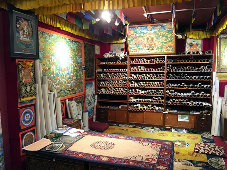 Inside a Thangka painting store in Thamel where they are sold as souvenirs