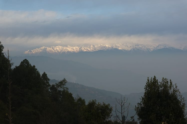 The Himalaya mountains at sunset from Namo Buddha in Nepal