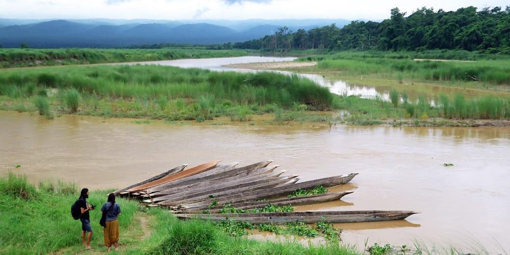Nepal in July Chitwan National Park Monsoon Season Flooded River