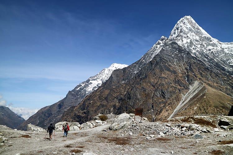 Trekkers descend from Tsho Rolpa Lake in Nepal