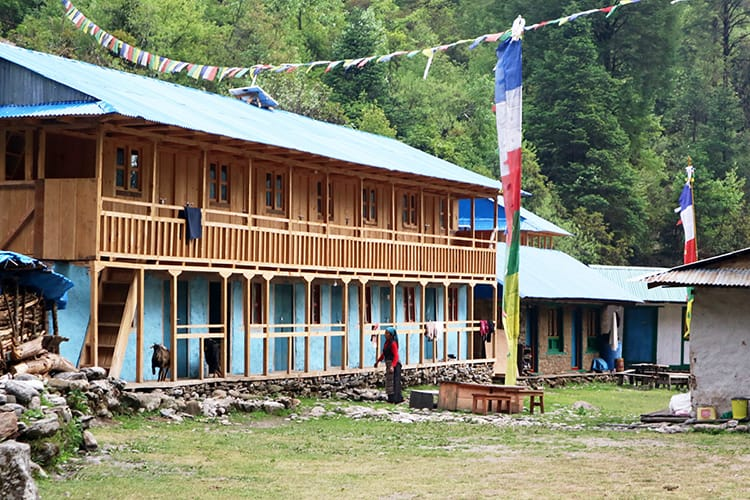 A typical teahouse (basic hotel without electricity or plumbing) along the way to Tsho Rolpa