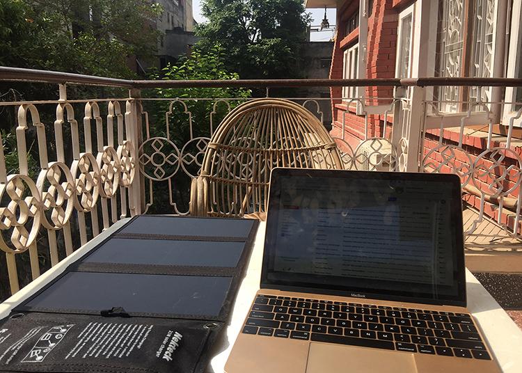 A laptop on a balcony in Kathmandu