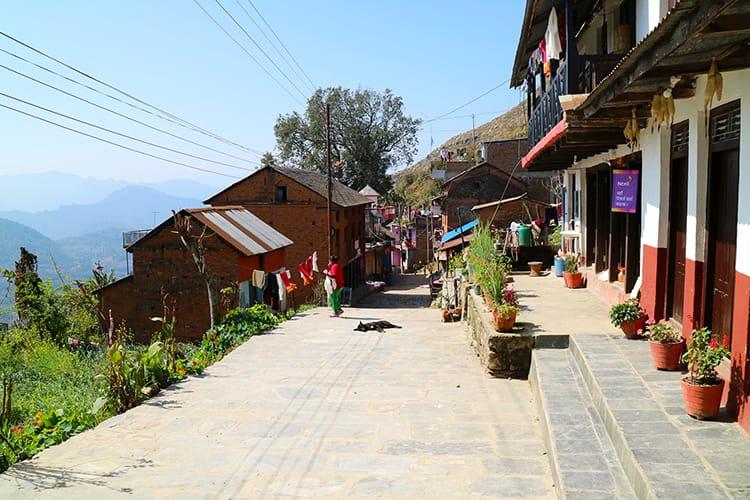 A side street in Bandipur where a local women runs a small shop