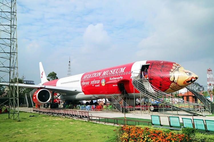 The Aviation Museum in Kathmandu Nepal inside an Airplane