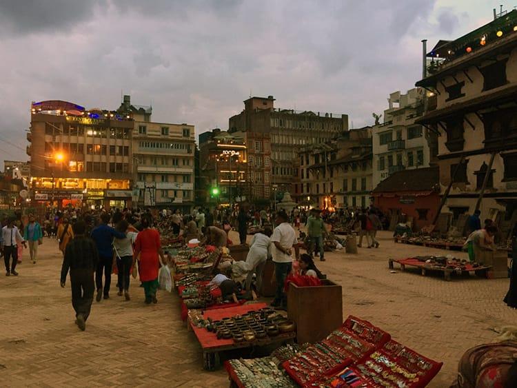 People Selling Souvenirs on Freak Street at Night in Kathmandu Nepal