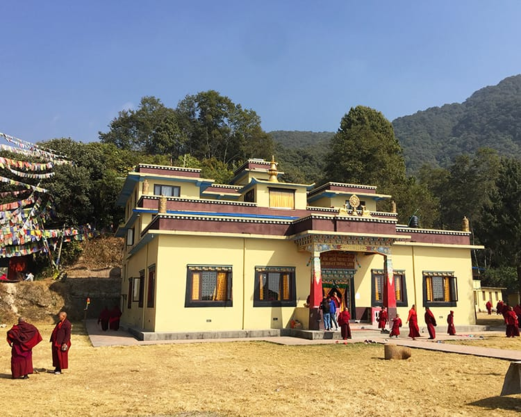 Nagi Gompa Monastery sits in the hills of Kathmandu with nuns surrounding it after morning chants
