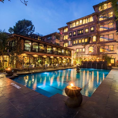 Pool and outdoor space at The Dwarika's Hotel in Kathmandu