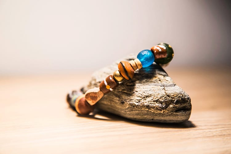 A colorful bracelet made by Bottles to Beads