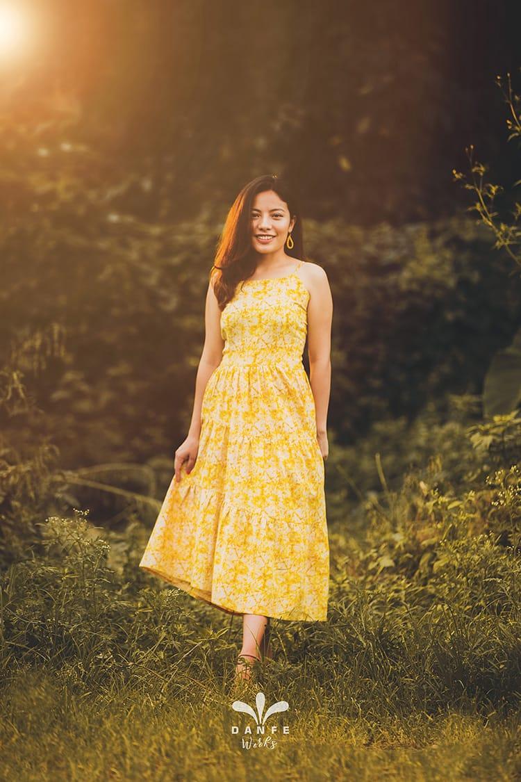 A beautiful yellow sundress made by Danfe Works in Nepal
