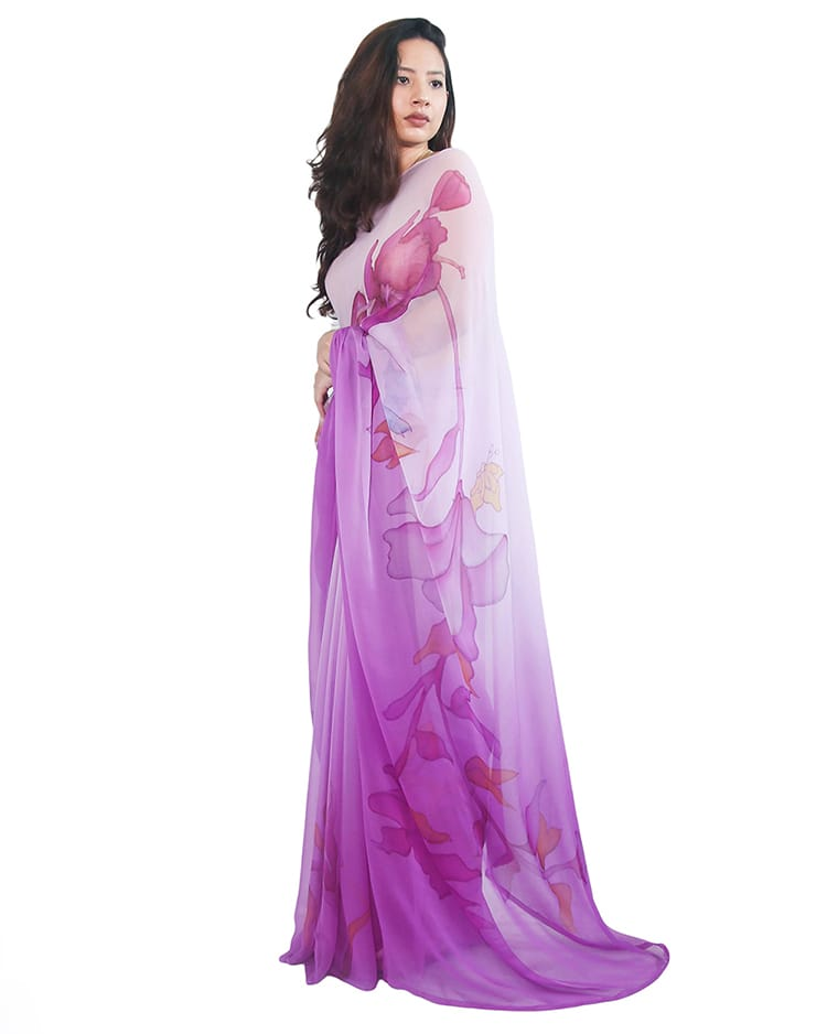 A pink and purple saree from Kallisto