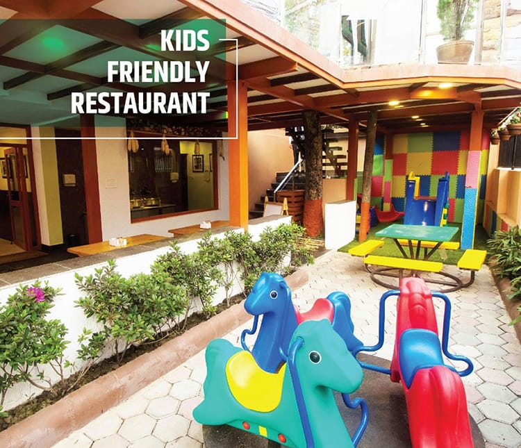 Outdoor play area at Jimbu Capital Grill which is a Family Restaurant in Kathmandu