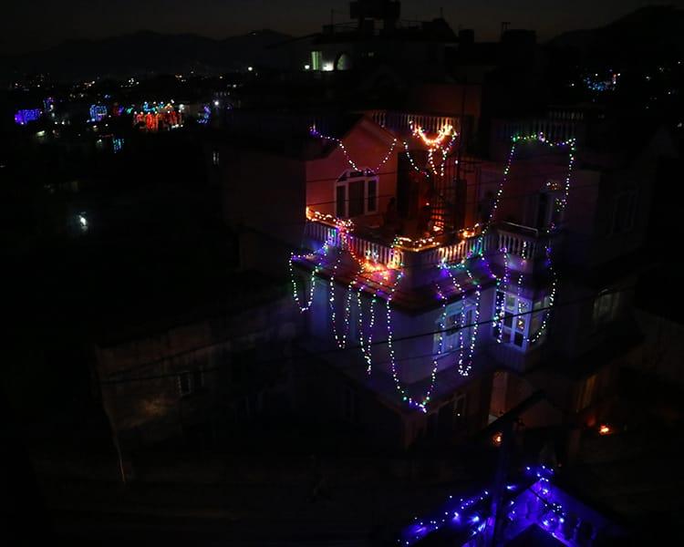 LED lights hang from roofs around Kathmandu during Tihar