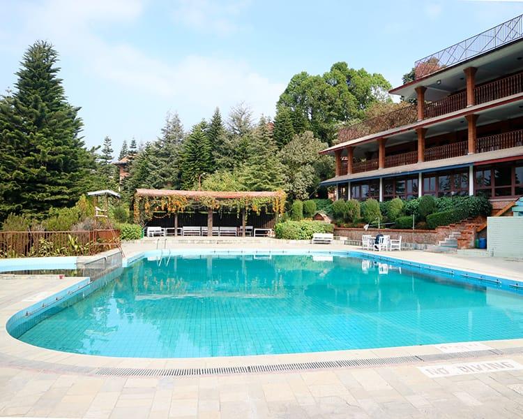 The large outdoor pool at the Godavari Village Resort
