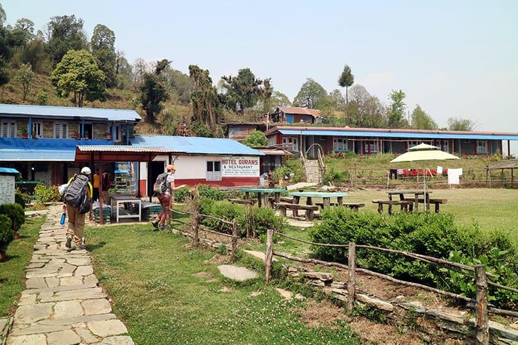 Two trekkers arrive at Hotel Gurans in Australian Camp, Nepal