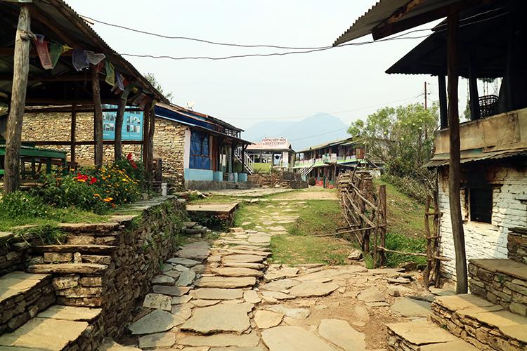A stone pathway goes through Pothana, Nepal